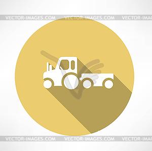 Traktor mit Anhänger Symbol - vektorisiertes Bild