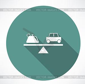 Auto und Geld auf Skalen - Vector-Clipart / Vektor-Bild