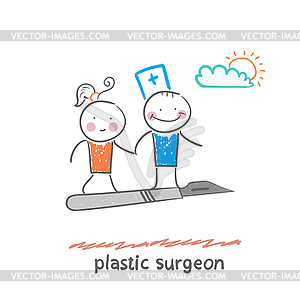 Plastischer Chirurg mit dem Patienten Fliegen auf Skalpell - vektorisiertes Clip-Art