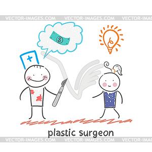 Schönheitschirurg denkt über Geld und Zuhören - Royalty-Free Vektor-Clipart