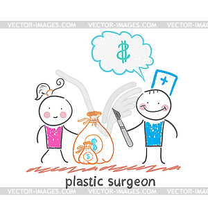 Schönheitschirurg denkt über Geld und nimmt Tasche - Stock Vektorgrafik