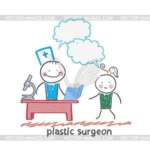Schönheitschirurg t arbeiten mit Patienten spricht - Vektorgrafik