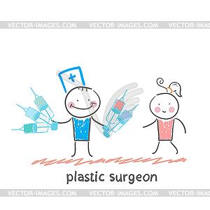Plastischer Chirurg mit Spritze und steht neben - Vector-Clipart EPS