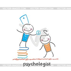 Psychologe ist auf Stapel Bücher und gibt - Vector-Clipart EPS