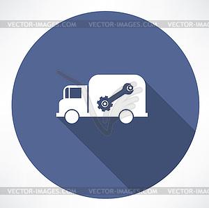LKW mit Schraubenschlüssel und Mutter-Symbol - Vector-Clipart / Vektor-Bild