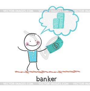 Banker mit Dollar denkt über Geld - vektorisiertes Bild