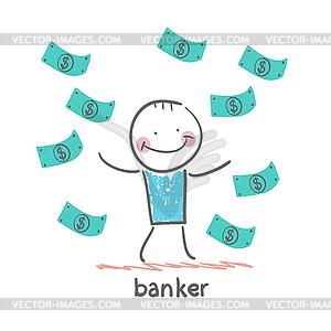 Bankier und viel Geld fallen um - Klipart