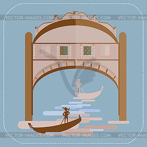 Venedig Seufzerbrücke. Gondoliere in Gondel. Symbol - Vector-Design