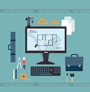 Architekt entwickelt Zeichnungen auf dem Computer - Vector-Clipart EPS
