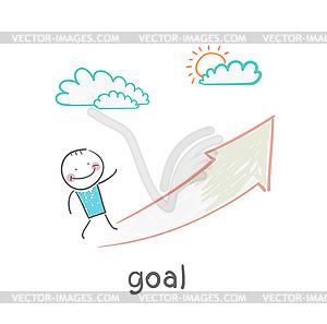 Goalman geht zum Zweck des Pfeils - Stock Vektor-Bild