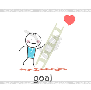 Mann klettert Treppen zum Ziel - Vector-Clipart