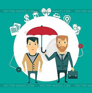 Versicherungsvertreter hält Dach - farbige Vektorgrafik
