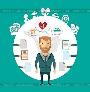 Versicherungsvertreter arbeitet mit Kunden - Vector-Design