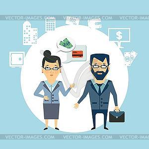 Bankmitarbeiter zu den Kunden sprechen - vektorisierte Abbildung