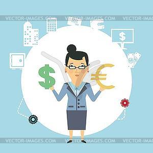 Bankangestellten Geld wechseln - vektorisiertes Clip-Art
