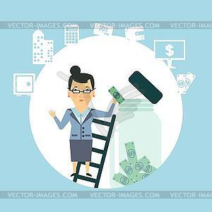 Bankangestellter, um Geld im Glas halten - vektorisierte Grafik