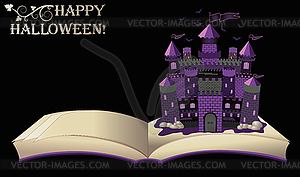 Happy Halloween. offenes Buch mit der alten Burg, Vektor - Vektor-Illustration