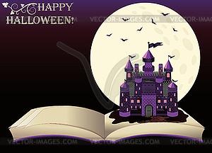 Happy Halloween. Altes Buch mit Hexe Schloss, Vektor - Vektor-Clipart / Vektor-Bild