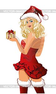Sankt-Mädchen Weihnachtsgeschenk, Vektor-Illustration - Vector-Design