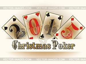 Weihnachten Poker frohes neues 2015 Jahre Karten, Vektor- - Vector-Clipart / Vektorgrafik