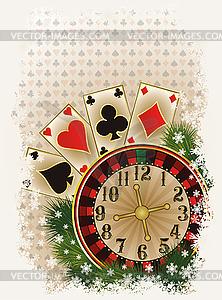 Frohe Weihnachten Casino Einladungskarte, Vektor- - Clipart