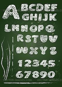 ABC - Englisch Alphabet auf Tafel geschrieben in - Vector-Clipart EPS