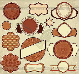 Vintage-Schokolade Etiketten in braun und beige eingestellt - Vektor-Clipart / Vektorgrafik