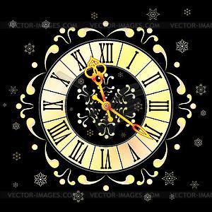 Weihnachten Athos Uhr und Schneeflocken - Vektorgrafik-Design