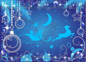 Blauer Weihnachtshintergrund, - Vektor-Illustration