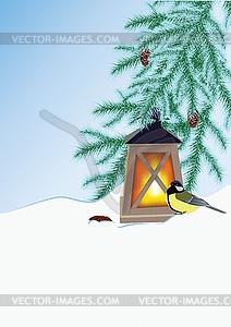 Wintertanne und Taschenlampe - farbige Vektorgrafik