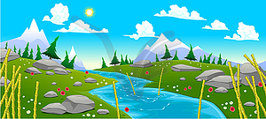 Gebirgslandschaft mit Fluss - Vector-Clipart EPS