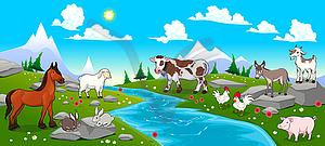 Gebirgslandschaft mit Fluss und Tiere - Vector-Clipart / Vektorgrafik