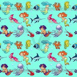 Lustige Seetiere mit Meerjungfrauen und Hintergründe - vektorisierte Grafik