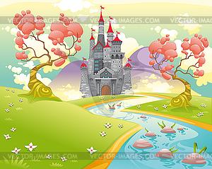 Mythologische Landschaft mit mittelalterlichen Burg - Stock Vektorgrafik