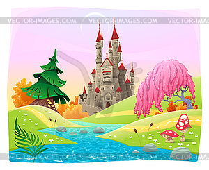 Mythologische Landschaft mit mittelalterlichen Burg - Royalty-Free Vektor-Clipart