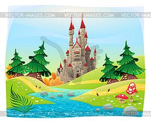 Mythologische Landschaft mit mittelalterlichen Burg - Vector-Clipart EPS