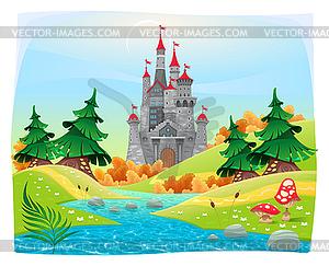 Mythologische Landschaft mit mittelalterlichen Burg - Vector-Illustration