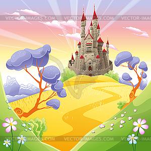 Mythologische Landschaft mit mittelalterlichen Burg - Vektor-Illustration