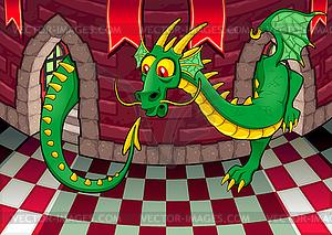 Im Inneren Burg mit Drachen - vektorisierte Abbildung