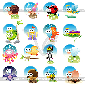 Family of funny animals - Stock Vektor-Clipart