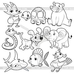 Set von Tieren in Schwarzweiß - Clipart