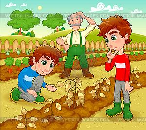 Lustige Szene im Gemüsegarten - Vektor-Clipart