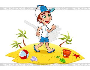 Boy ist zu Fuß auf Sand - Vector-Clipart / Vektorgrafik
