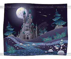 Nightly Panorama mit Schloss - Vector-Clipart EPS