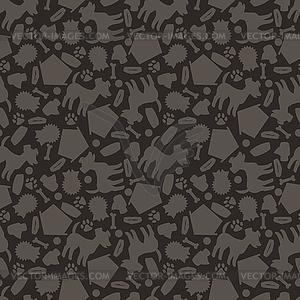 Nahtlose Muster mit niedlichen Hunden, Symbole und Objekte - Vektor-Illustration