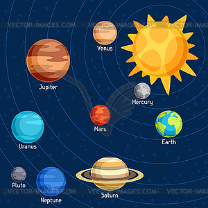 Cosmic With Planets Of Solar System Vector Clip Art