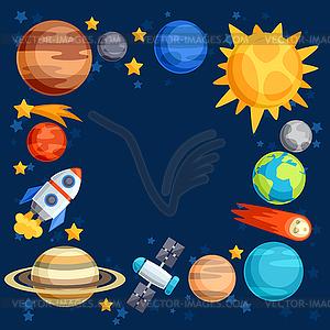 Hintergrund des Sonnensystems, der Planeten und Himmels - Vektorgrafik