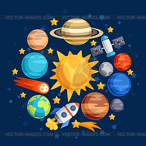 Hintergrund des Sonnensystems, der Planeten und Himmels - Vector-Clipart EPS