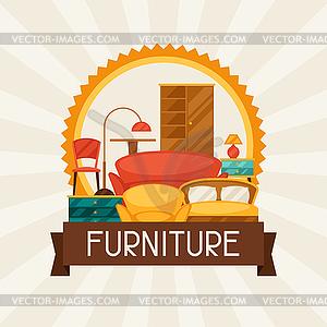 Interieur Hintergrund mit Möbeln im Retro-Stil - Vector-Clipart / Vektor-Bild