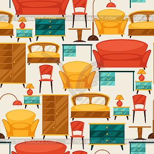 Innen nahtlose Muster mit Möbel im Retro- - Vector-Design